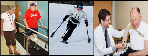 Banner:  Amputation System of Care.  Three photos of amputees playing baseball, skiing, and on a surfboard
